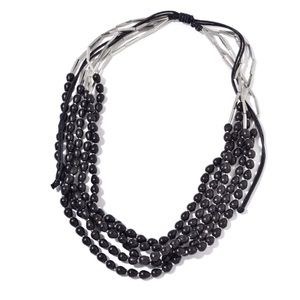 Jewelry - Black Wooden Beads Multi Strand Necklace